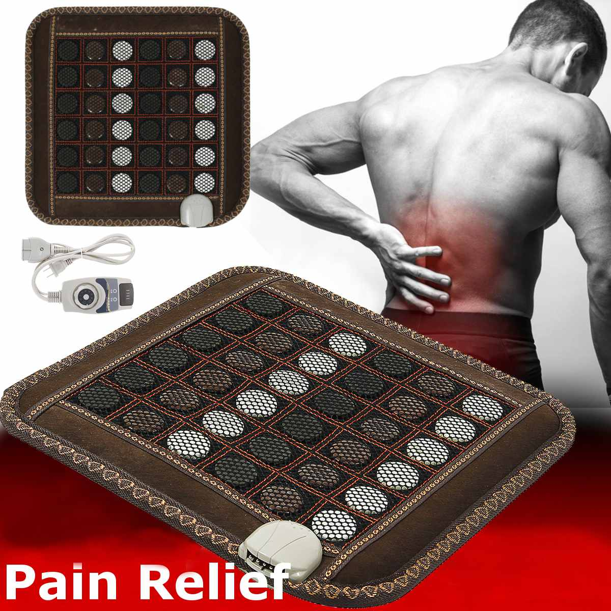 Natural Jade Massage Heating Seat Cushion Mat Infrared Tourmaline Stone Relax Pain Therapy back Body Leg Muscle Office Household