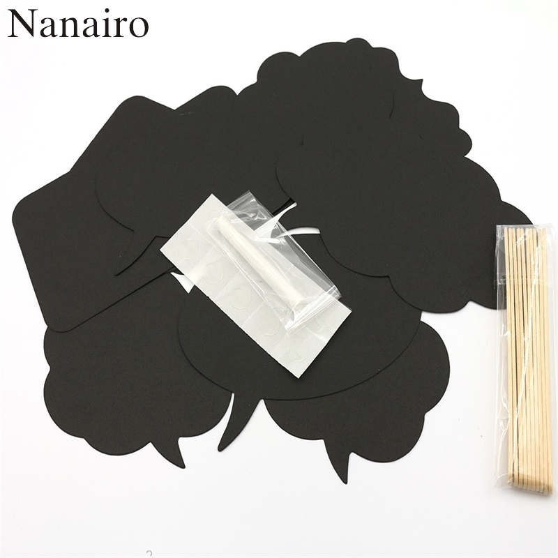 New Lovely 10Pcs Chalkboard Birthday Photo Booth Prop Wedding Black Card Board Stick Party Supplies Christmas Decoration