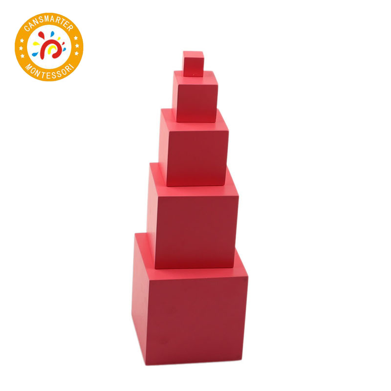 Montessori Materials Baby Toys Wooden Educational Kids Toys Pink Tower 5 Steps