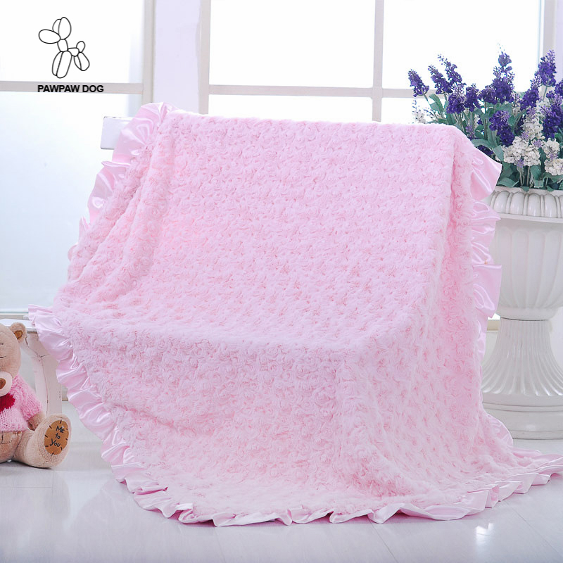Pawpawdog Fleece Blanket Soft Lace Throw Blankets for Bed Travel Polar Solid Plaids Sofa Hot Winter Baby Blanket for Children