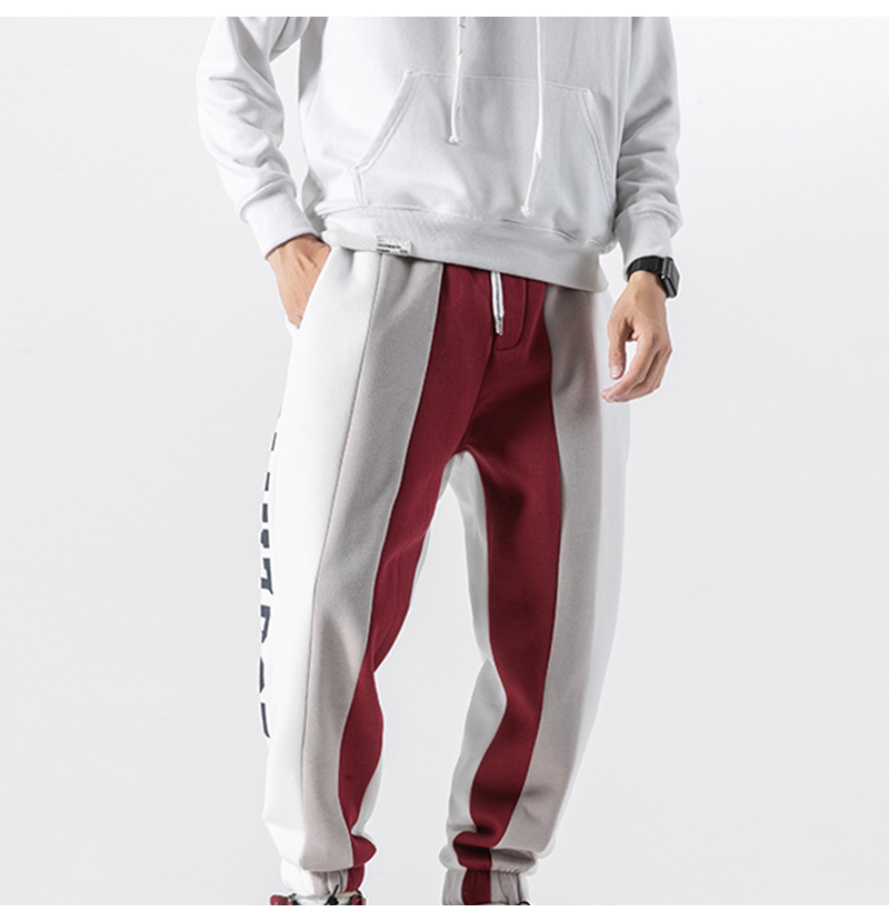 Aolamegs Men Casual Track Pants Splice Contrast Pants Men Letter Print Elastic Waist Sweatpants Men High Street Pants Streetwear (15)