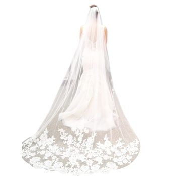 3M One-Layer Women Ultra-Long Trailing Wedding Veil Romantic Embroidered Floral Lace Appliques Patchwork Cathedral Bridal Veil Bridal Veils