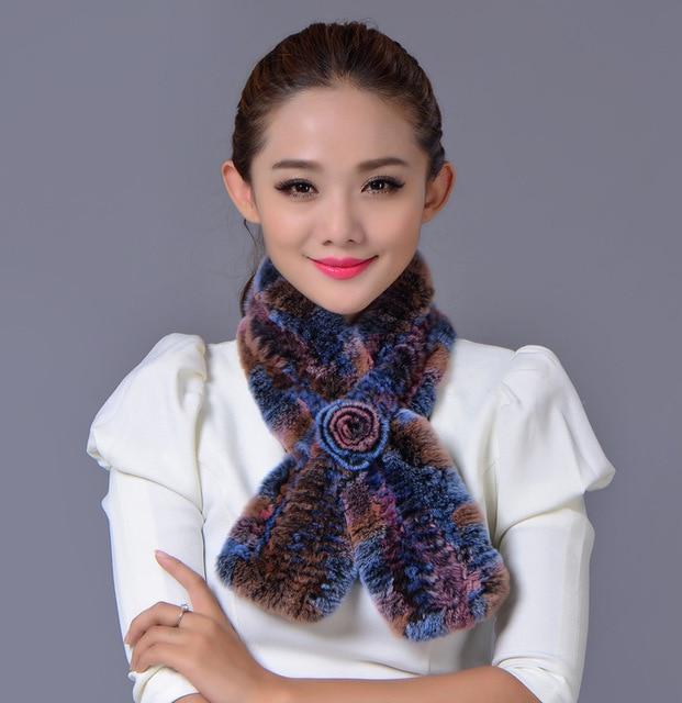 Новая Мода Продажа 2016 зимние шапочки меховой шарф для женщин трикотажные рекс меха Енота шарф с цветком повседневная женская шарф