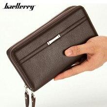 Baellerry Бизнес длинные Для мужчин Бумажники искусственная кожа сцепления кошелек Для мужчин удобная сумка carteira masculina черный двойная молния большой кошелек
