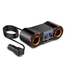 Onever розетка для автомобильного прикуривателя сплиттер адаптер питания розетка с автономным выключателем 3.5A двойной USB зарядное устройство DC12-24V