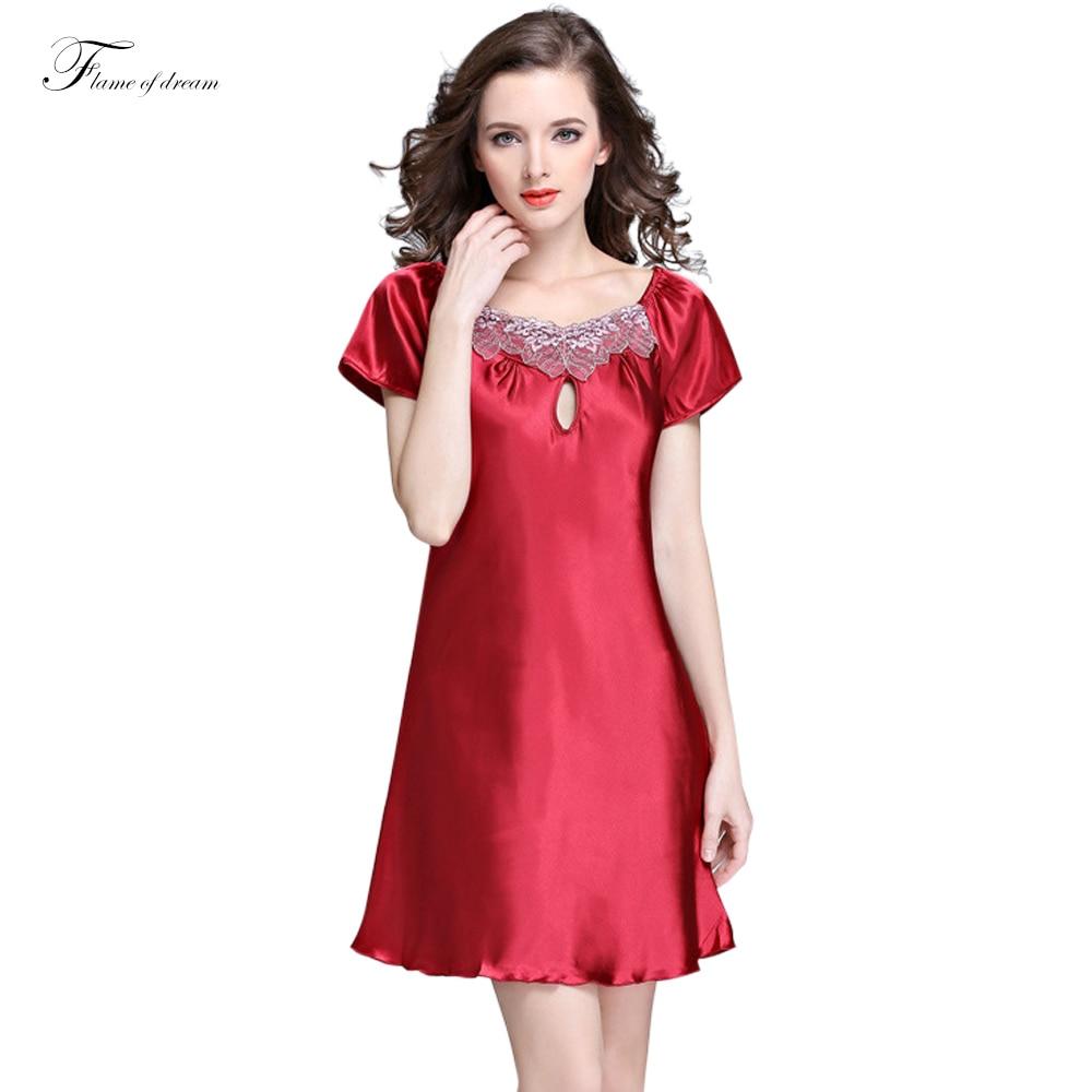 379266edbf17a40 Ночные рубашки Женщины Ночь Пижамы Сна Рубашки Женщин Искусственный Шелк  Ночной Рубашке летние платья домашний халат атласная sleepwear261 купить на