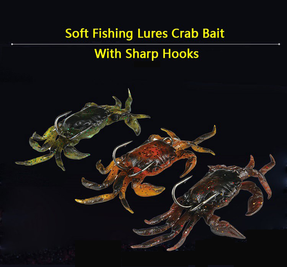 5pcs Soft Fishing Lures Artificial Bait Crab with Sharp Hook Jigging Lure Tackle