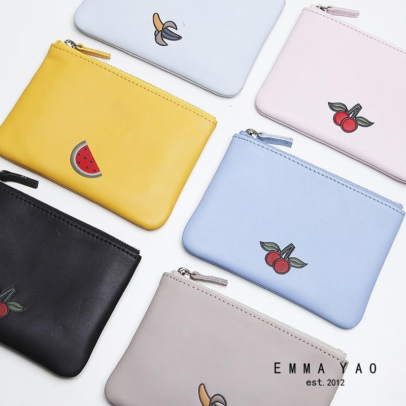 EMMA YAO kvinnors läder myntpåsar hållare mode plånbok kvinnliga koreanska handväska