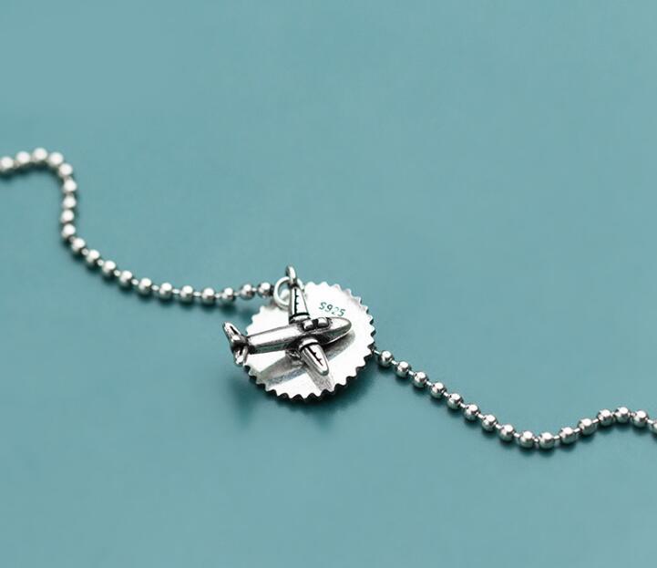 100% Wahr Authentische Echt. 925 Sterling Silber Edlen Schmuck Glück Runde Ball Perlen & Flugzeug Disc Münze Kette Armband Einstellen Gtls830