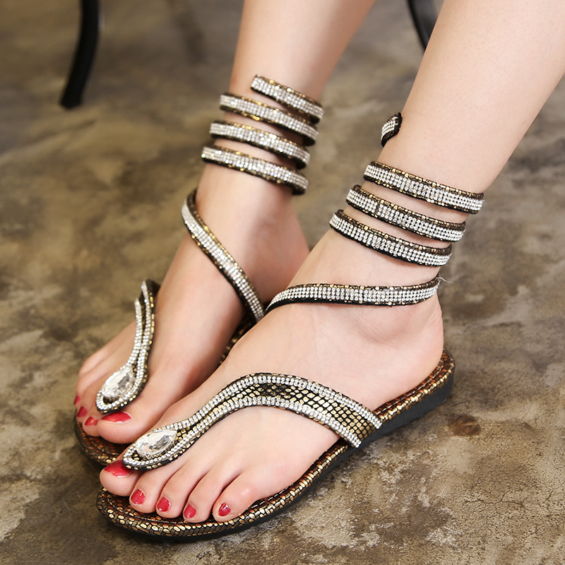 Women Summer Sandals Cross Over Strap Flats Shoes Flip Flop Casual Rome Style