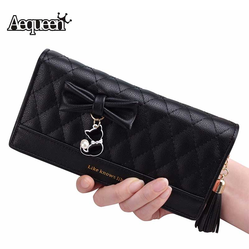 AEQUEEN Women Purse Cut Cat Wallets Ladies PU Leather Famous Brand Female Wallet Women Zipper Leather Long Purse Ladies Clutch 2016 new women wallets famous brand design pu leather wallet female zipper
