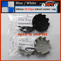 4Pcs 68mm Car Wheel Label Badge Cap Blue/White Wheel Rim Logo Cover ABS Base Aluminum Auto Wheel Center Emblem