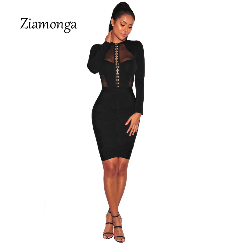 8edc234c1f Ziamonga Fashion Design Cropped Mesh Patchwork Long Sleeve Black Bodycon  Playsuit Button Hook Unique Design Women Sexy Bodysuit-in Bodysuits from  Women s ...