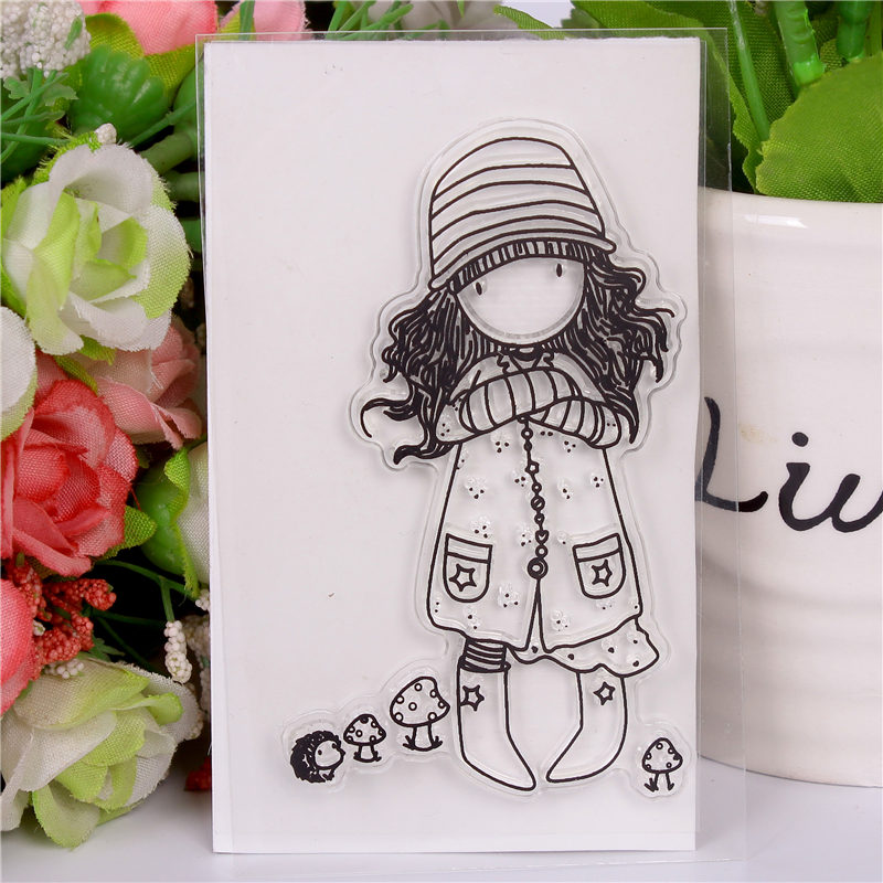 Rubber Silicone Clear Stamps for Scrapbooking Tampons Transparents Seal Background Stamp Card Making Diy Cartoon girl 24 чемодан sunvoyage premium stamps sv015 ac034 24