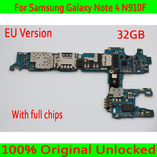 EU Version For Samsung Galaxy Note 4 N910F Motherboard,Original unlocked for Note 4 N910F Logic board + Full Chips,Free Shipping