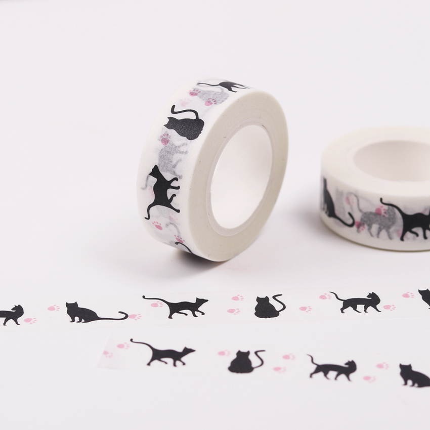 1.5cmx10m Hallowmas Cat Washi Tape Diy Decoration Scrapbooking Planner Masking Tape Adhesive Tape Kawaii Stationery gold foil washi tape adhesive scrapbooking christmas party elk decoration tape kawaii photo album maskingtape
