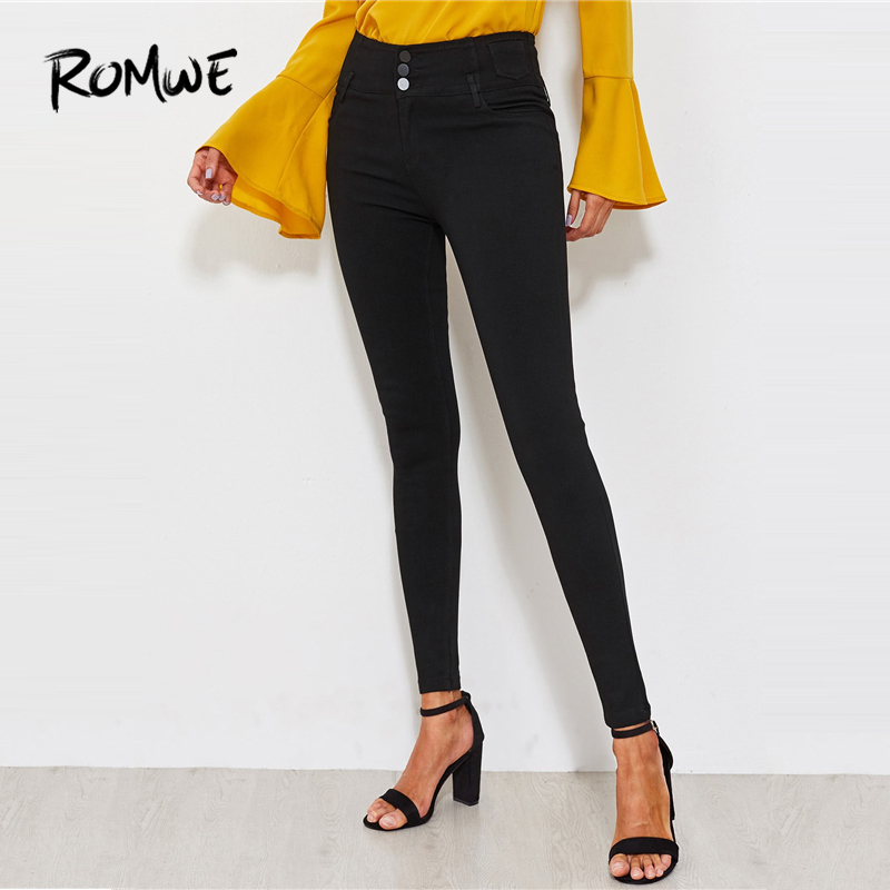 ROMWE Classic Skinny   Jeans   2019 New Design Mid Waist Button Fly Solid Women Trousers Casual Stylish Female Black   Jeans
