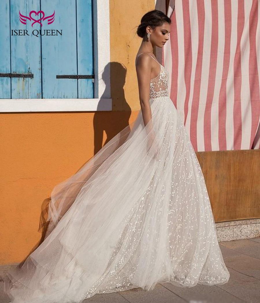 2019 Mid East Fashion Tulle Pearl Crystal Bride Wedding Dresses Spaghetti Straps V Neck Sexy Illusion Beach Wedding Dress W0343