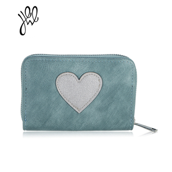 2017 New Fashion Heart PU Leather Women Wallets Lovely Red Heart Small Wallet Short Adorable Card Holder Coin Purse Mini 500608 wallet