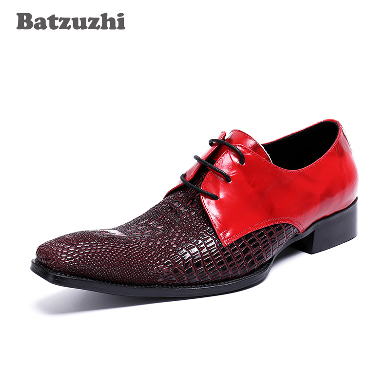 Luxury Italian Style Men Shoes Small Sqare Toe Men Dress Shoes Lace-up Genuine Leather Shoes Male Red Wedding Shoes Oxfords,US12 dhl 1628pcs lepin 07055 genuine series batman movie arkham asylum building blocks bricks toys with 70912 gift