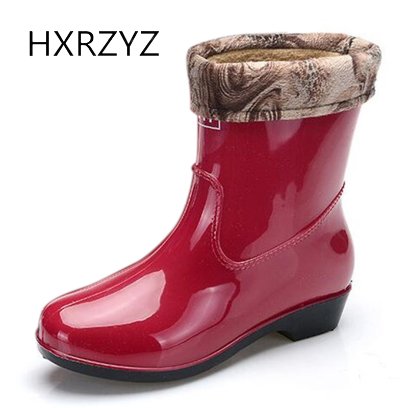 HXRZYZ spring/autumn new fashion rain boots warm spring ladies waterproof ankle rubber boots green and red women rain shoes hxrzyz women rain boots spring autumn female ankle boots ladies fashion high top blue and red non slip waterproof women shoes