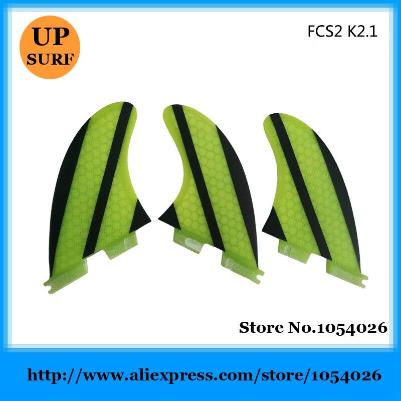 ⃝Nueva FCS II-K2.1 aletas tri-set panal FCS2 aleta amarillo quilhas ...