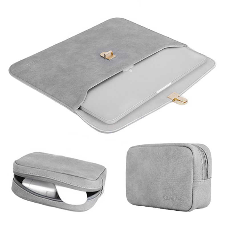 2019 nowy Slim matowy PU skórzana torba na laptopa 14 dla Macbook Pro 13 15 Touch Bar 2018 Case dla Xiaomi Notebook Air 13.3 pokrowiec