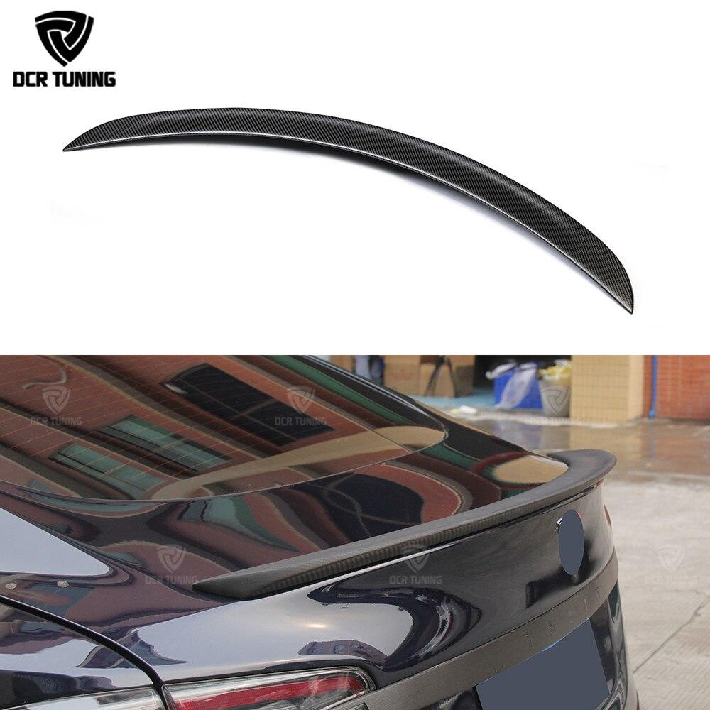 Fibre de carbone Arrière de Voiture Tronc Spoiler Pour Tesla Model S 4 Porte Berline Spoiler Carbone Noir Mat Finition 2012- UP