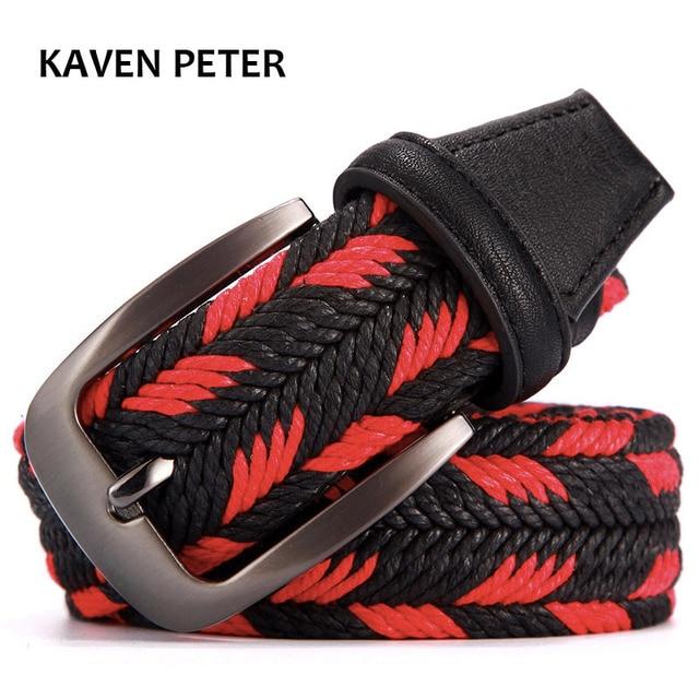 Diseñador cinturón de moda de las mujeres cinturones para hombre trenzado tejido Unisex cinturón No elástico No agujeros 100-160 Cm de largo cintura 35-62 pulgadas