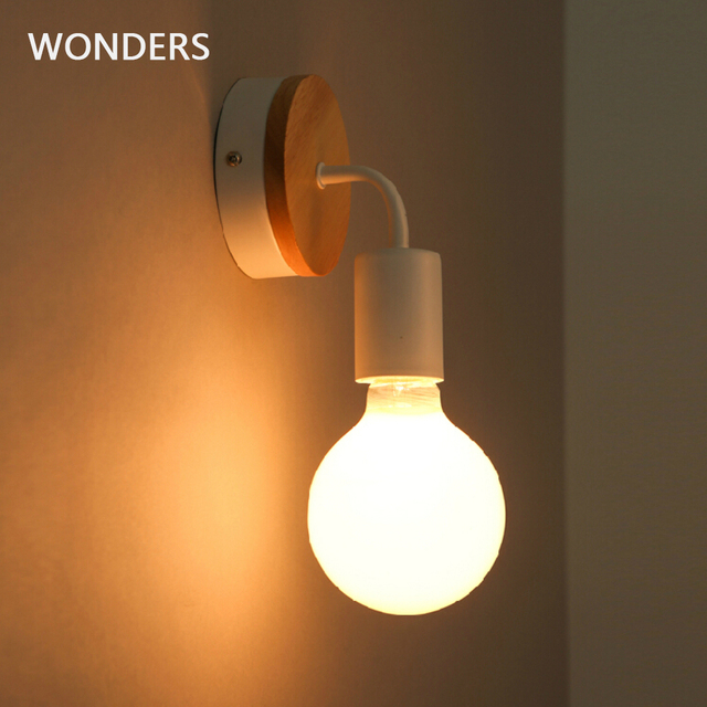 Modern Northern Europe Vintage Wood Metal wall Lamp Industrial Indoor Lighting Bedside Lamps LED Wall Industrial Indoor light 1