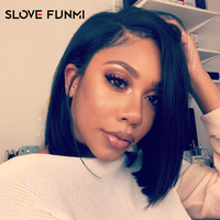 Pre Plucked Human Hair Short Bob Wigs Brazilian Remy Hair Silky Straight Lace Front Human Hair