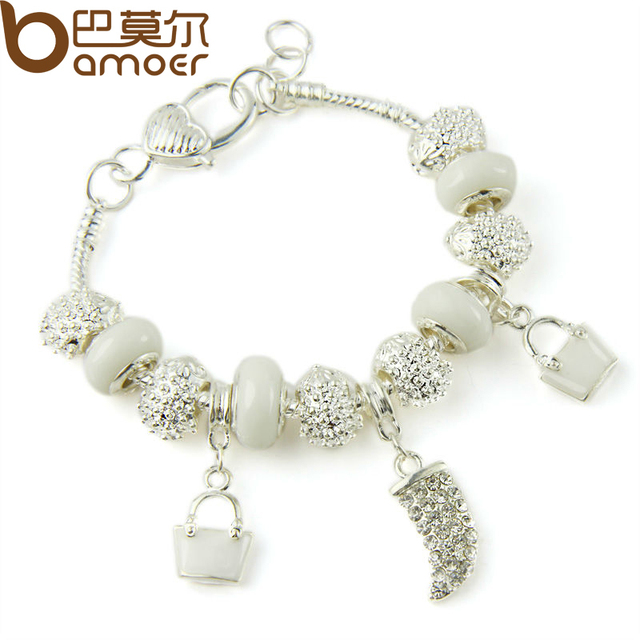 BAMOER Silver Plated Crystal Charm Bracelets & Bangles With White Murano Glass Beads Handmade Jewelry PA1336