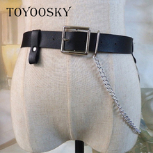 TOYOOSKY European Punk Women Belt Joker Hot PU Leather Pin Buckle Circle Decorated Sexy Chain for Dropshipping