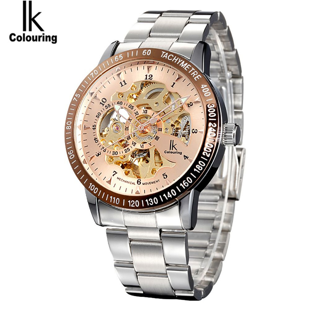 Brand IK Men's Sport watch Stainless Steel Skeleton Automatic Mechanical Steampunk Military Clock Relogio Masculino Free Ship ik colouring automatic mechanical mens watch skeleton black military stainless steel waterproof wristwatch relogio masculino