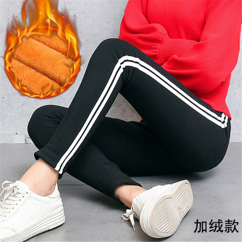 High Quality Cotton Leggings Side stripes Women Casual Legging Pant Plus Size 3XL High Waist Fitness Leggings Plump Female 2019