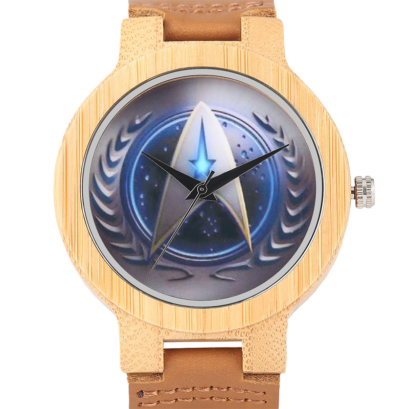 2017 Handmade Natural Wood Bamboo Watch Mens Blue Star Trek Design Male Quartz-watch Genuine Leather Unique Hour Gift + Bag unique natural wood sunglasses