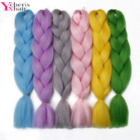 YXcherishair 12pc/LOT jumbo braids kanekalon high temperature fiber pure color 100g/pc crochet extension hair can be permed