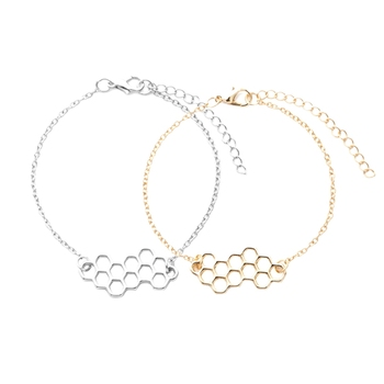 Cute Silver And Gold Honeycomb Bracelet