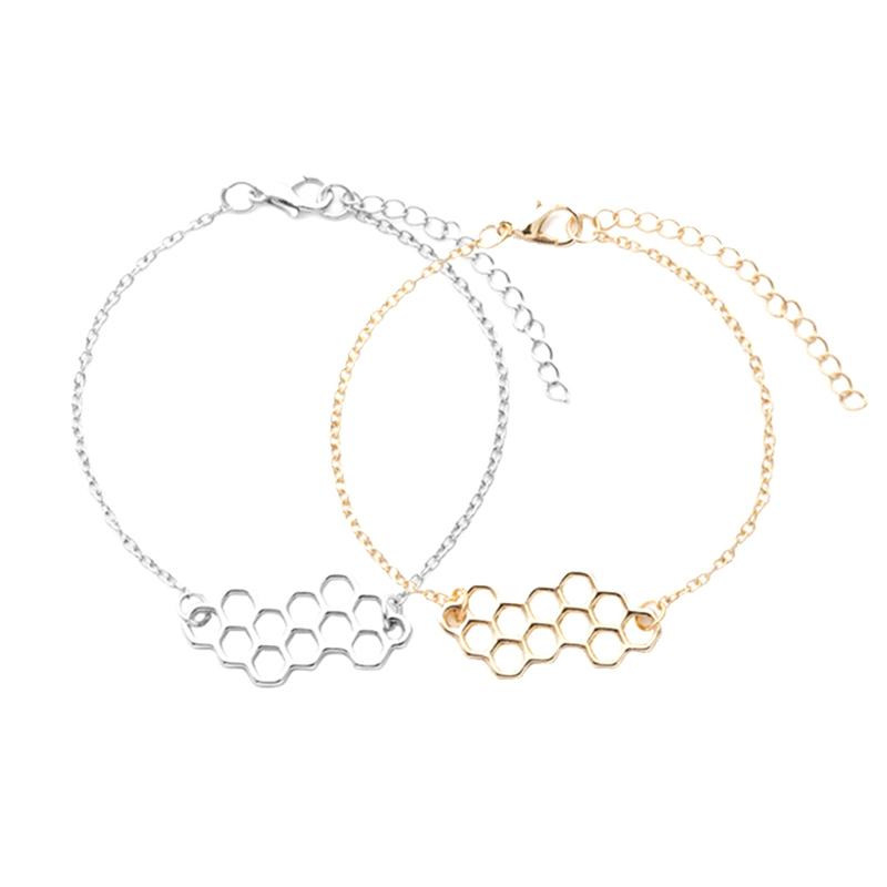 Cute Honeycomb Bracelet Silver Gold Color Beehive Honey Bee Comb Hive Hexagon Link Chain Geometric Fashion