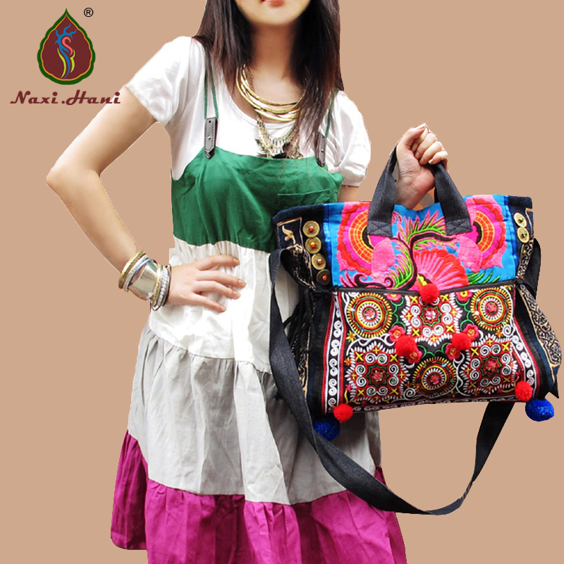 Hot sale Naxi.Hani Original brand embroidered denim women handbags Ethnic handmade casual shoulder messenger bags ethnic embroidered black cami dress for women