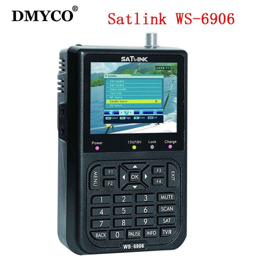 Satlink WS-6906 3.5 DVB-S FTA digital satellite satFinder meter satellite finder LCD Sat Finder ws 6906 satlink ws6906 PK V8 satlink ws 6979se satellite finder meter 4 3 inch display screen dvb s s2 dvb t2 mpeg4 hd combo ws6979 with big black bag