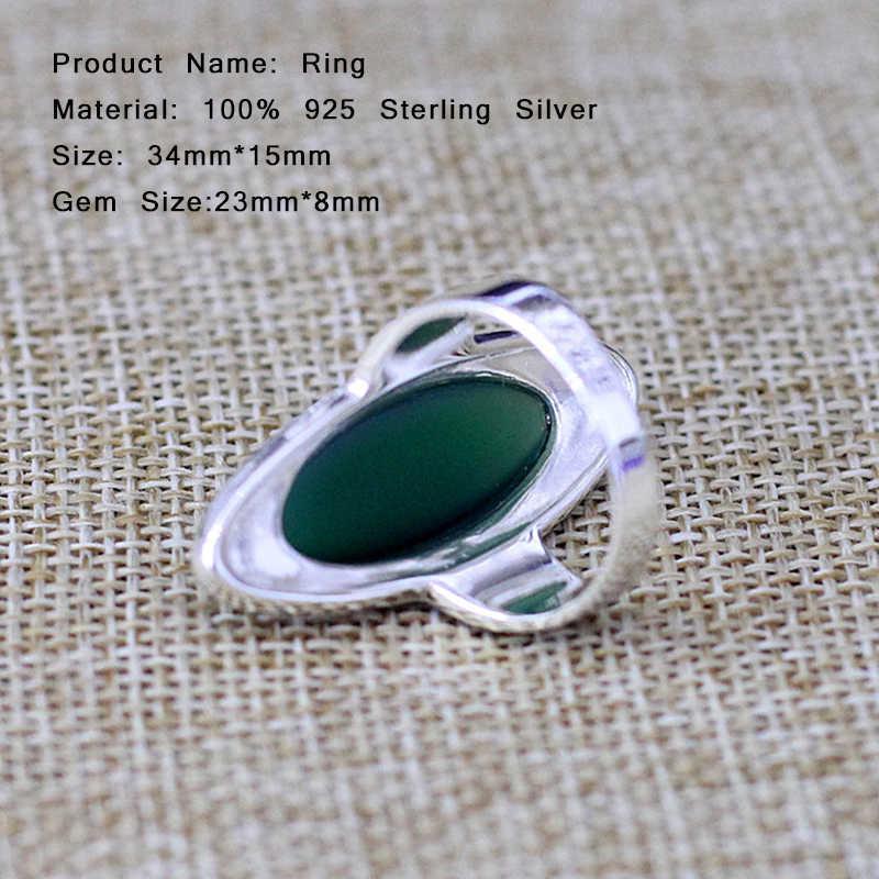 ด้านคุณภาพสีเขียวโมราแหวนแต่งงาน100% 925เครื่องประดับเงินสเตอร์ลิงสำหรับผู้หญิงของขวัญวินเทจดีพลอยหยกแหวนSR34
