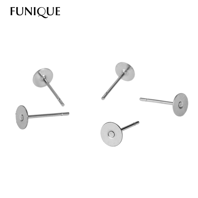 Funique 10 20pcs Ear Stud Flat Earring Pin Fit Cabochon Jewelry Findings Stainless Steel Diy