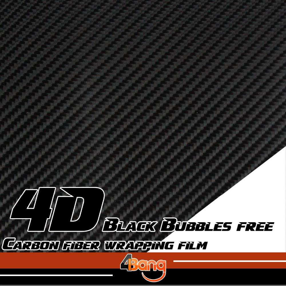 Black/White/Silver/Red 4D Carbon Fiber Vinyl Film Sticker Wrap Decal Bubble Free For Car Body Hood Roof Fender 1.52x10/20/30m