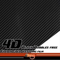 Zwart/Wit/Zilver/Rood 4D Carbon Vinyl Film Sticker Wrap Decal Bubble Gratis Voor Auto Lichaam Hood Roof Fender 1.52x10/20/30 m