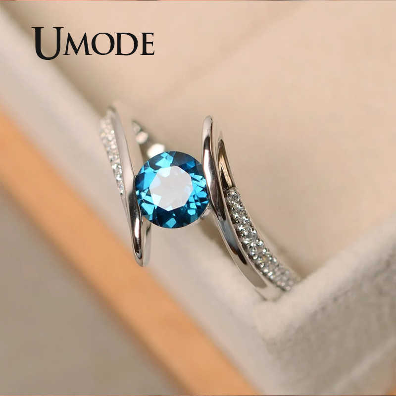 UMODE Vintage Dainty Green Cubic Zirconia Ring for Women Wedding Engagement Finger Rings Luxury Brand Designer Jewelry UR0511