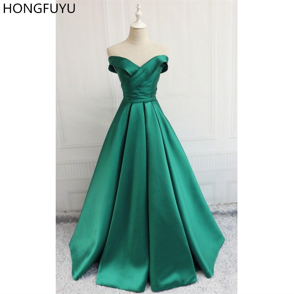 HONGFUYU hors épaule sans manches vert robes de soirée femmes Satin une ligne longue ruché robe formelle robes de bal avec fermeture à glissière