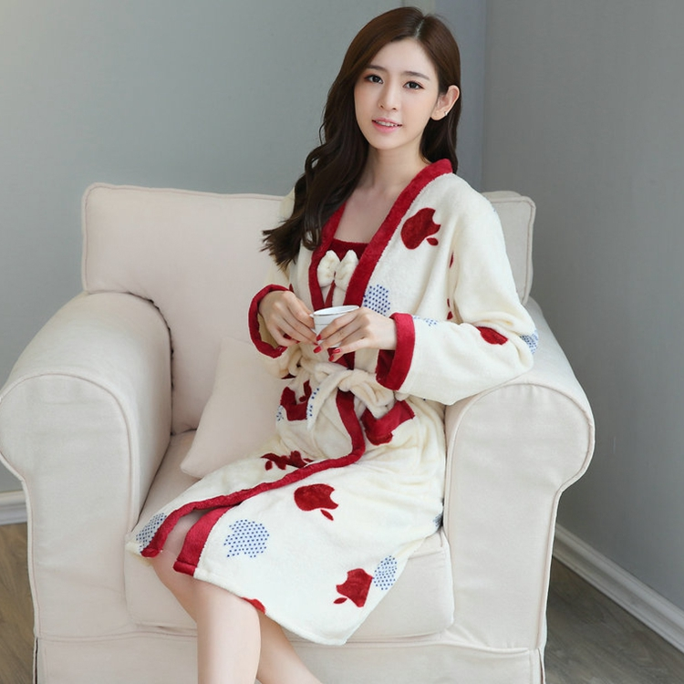 2PCS Sexy Thick Warm Flannel Robes Sets for Women 2018 Winter Coral Velvet Lingerie Night Dress Bathrobe Two Piece Set Nightgown 252