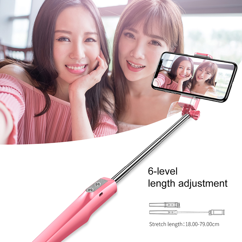 Baseus Selfie Stick Bluetooth Monopod with Led Flash Fill Light Rear Mirror Selfiestick For iPhone Samsung Xiaomi Android Phones in Selfie Sticks from Consumer Electronics