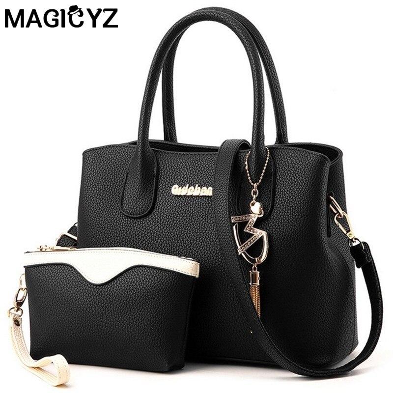 ФОТО Brand composite bag 2 PCS/Set Women Bag 2017 Women Messenger Bags Purse Wallet Leather Handbags metal fringed pendant female bag